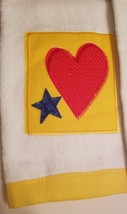 Kitchen Hand Towels set of 2 Velour Applique Patchwork Hearts Stars Red Yellow image 4