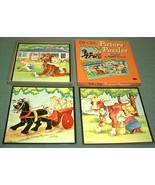 Vintage 1958 Whitman 3 Tell-A-Tale Childrens Puzzles in Box excellent co... - $18.00