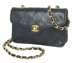 Auth CHANEL Shoulder Bag Black Mini Matelasse Vintage Crossbody Flap Log... - $2,288.88