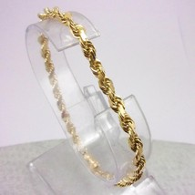 "Solid 14K Yellow Gold Diamond Cut Heavy Rope Link Bracelet, 8"" 4mm 12.7 ... - $489.00"