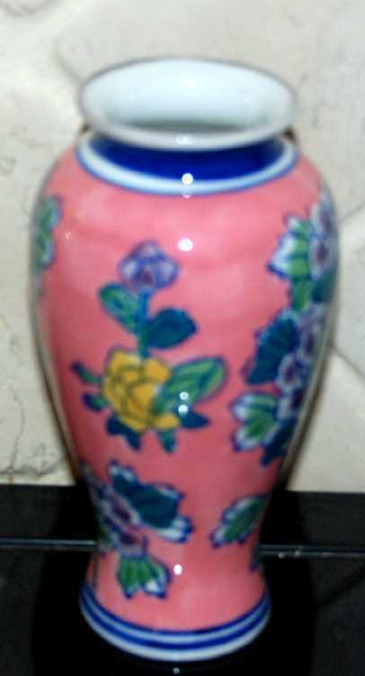 Pink Blue China Porcelain  Vase