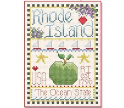 Rhode Island Little State Sampler cross stitch chart Alma Lynne Originals - $6.50
