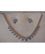 Vintage B David Aqua/clear Rhinestone Necklace ... - $65.00