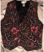 Wonderfully Floral Ani Mori Beaded with Pearls Vest Vintage - $17.77