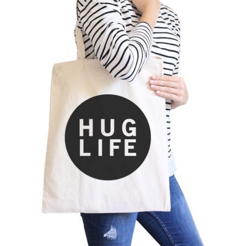 Primary image for Hug Life Natural Tote Bag Simple Trendy Design PocketSize Graphic