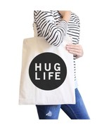 Hug Life Natural Tote Bag Simple Trendy Design PocketSize Graphic - $13.99