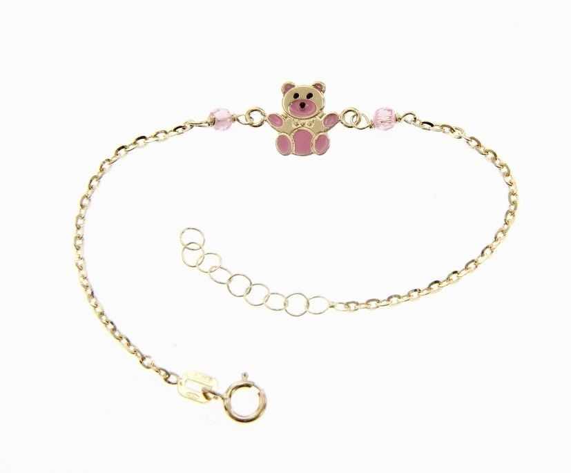 18 KT YELLOW GOLD BRACELET FOR KIDS WITH GLAZED BEAR PUPPY MADE IN ITALY 5.5 IN