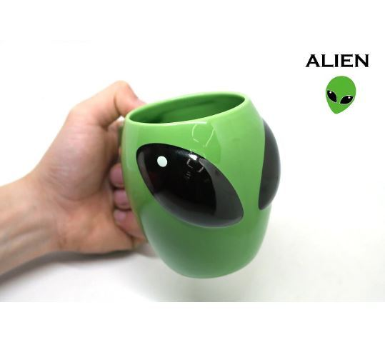 3D Anime Green Alien Mug Ceramic Novelty Coffee Milk Tea Cups