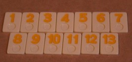Vintage Rummixkub board Game Replacement Parts Pieces Yellow Tiles 1-13 Only - $4.94