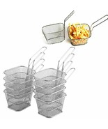 8Pcs Mini Fry Baskets Stainless Steel Fryer Strainer Serving Food Cookin... - $73.99
