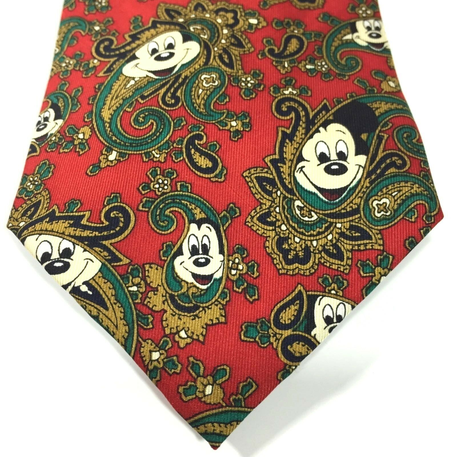 Primary image for Disney Hidden Mickey Mouse Necktie Silk Christmas Holidays Red Paisley 57 inch
