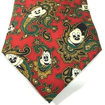Disney Hidden Mickey Mouse Necktie Silk Christmas Holidays Red Paisley 5... - $23.28
