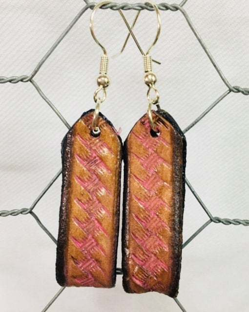 Hand tooled leather Basket Weave Earrings accented in Pink