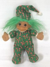 """Vintage RUSS BERRIE & Co """"Candy Cane Christmas Troll,"""" 8 in. No. 2385 Green Hair - $7.34"""