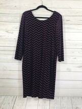 forever 21+ plus 2X dress long half sleeve chevron back drop purple - $11.38