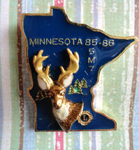 Minnesota Deer Head on State Lions Club Convention Pin 1985-86 5M7 - $12.85