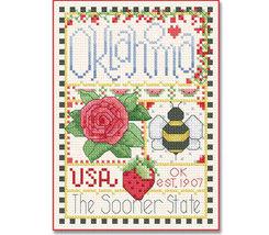 Oklahoma Little State Sampler cross stitch chart Alma Lynne Originals - $6.50