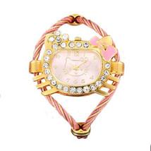 Hello Kitty Style Bangle Watch Anti-Tarnish Adjustable Crystal Kitty Gir... - $13.83