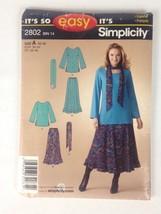 Simplicity 2802 Size A 10-18 Bin 14 Top Skirt Sash Scarf Uncut - $7.97