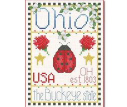 Ohio Little State Sampler cross stitch chart Alma Lynne Originals - $6.50