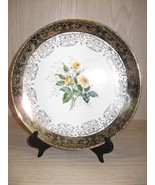 Collector Plate Yellow Roses Design 22K Gold Design Crest O Gold USA  - $7.95
