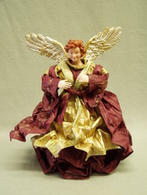 "Angel Christmas Tree Topper cranberry red & gold crepe paper dress 12"" t... - $11.40"