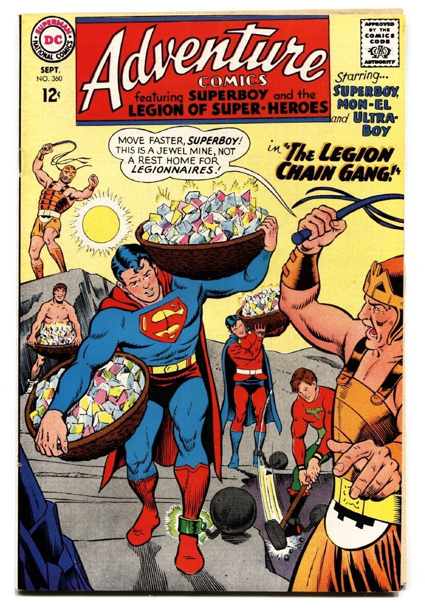 ADVENTURE COMICS #360 comic book 1967-MINING COVER-SUPERBOY-LEGION