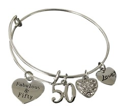 50th Birthday Gifts for Women, 50th Birthday Expandable Charm Bracelet, ... - $44.23