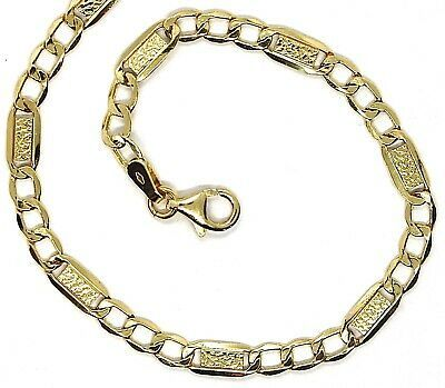 18K YELLOW GOLD CHAIN 4 MM, 23.6 INCHES, ALTERNATE GOURMETTE AND BUBBLES PLATE