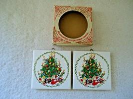Vintage 1981 / 1982 Jasco Christmas Themed Set Of 2 Ceramic Tile Trivets - $17.99