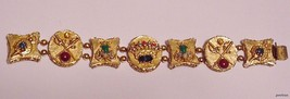 VINTAGE ART SIGNED GOLD-TONE RHINESTONE CABUCHON SWORD & CROWN BRACELET - $129.95