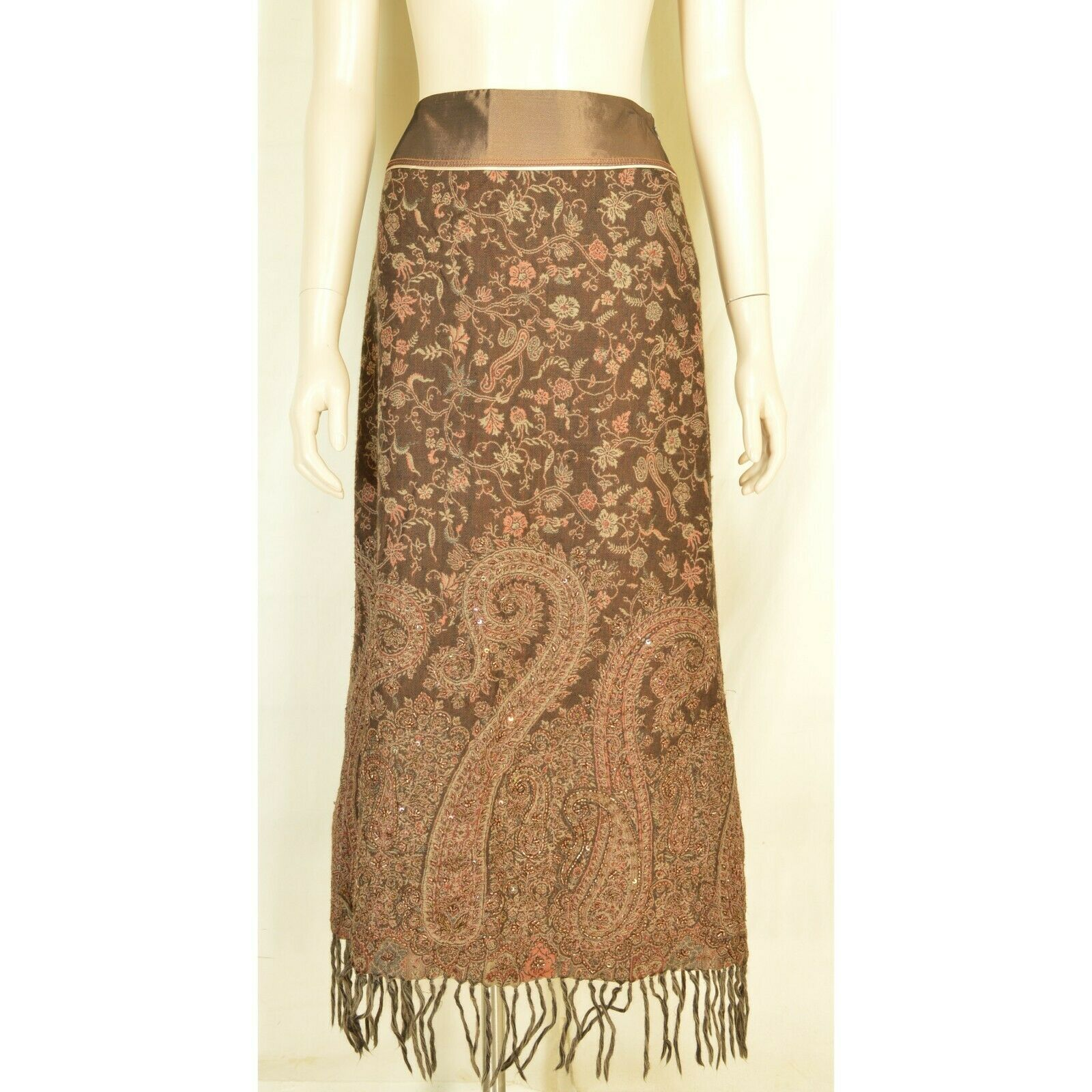Schumacher skirt SZ S pencil brown paisley beading fringe at bottom 100% wool It