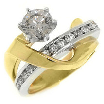 WOMENS 2 CARAT SOLITAIRE ROUND CUT DIAMOND ENGAGEMENT RING TWO TONE YELL... - £4,431.23 GBP
