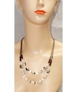 Loft Multi Strand Beaded Crystal  Necklace Silver Tone - $21.08