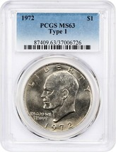 1972 $1 PCGS MS63 (Type 1) Eisenhower Dollar - £19.18 GBP