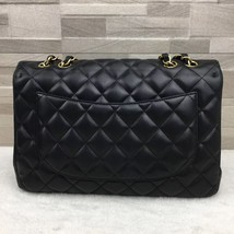 AUTHENTIC CHANEL BLACK QUILTED LAMBSKIN JUMBO CLASSIC FLAP BAG GOLDTONE HARDWARE image 3