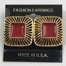 Vintage Red Enamel Square Earrings Gold Tone NOS 80s 90s Pierced - $14.80