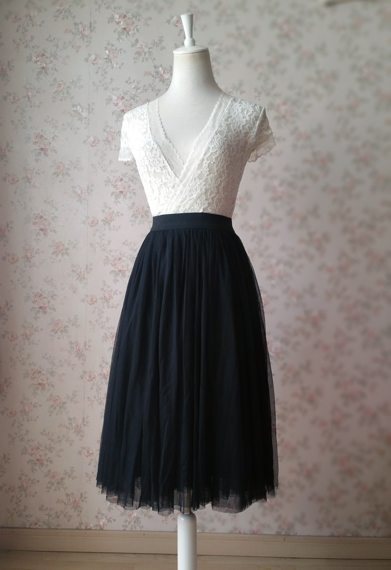 Women BLACK Midi Tulle Skirt Black Tulle Midi Skirt Wedding Plus Size Tutu Skirt