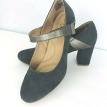 Dexflex Comfort Karol 7.5 Gray Like Suede Round Toe Mary Jane Block Heel... - $39.59