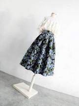 Pink Rose Flower Midi Skirt Plus Size Elegant A-line Pleated Midi Party Skirt image 9