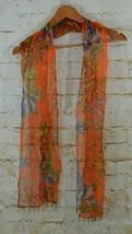 Chicos Orange Blue Floral Scarf Beaded Tassels Gold Metallic Threading   - $15.83