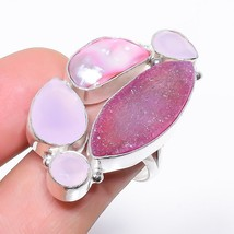 Pink Agate Druzy, Rose Quartz Jewelry Ring Size Adjustable RR1190 - $8.99