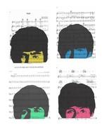 Art N Wordz The Beatles Set of 4 Ringo John George Paul Music Sheet  Pop... - $84.00