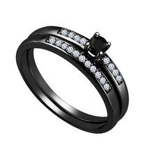 Black Gold Plated 925 Sterling Silver Round Cut Diamond Lovely Bridal Ring Set - $95.88