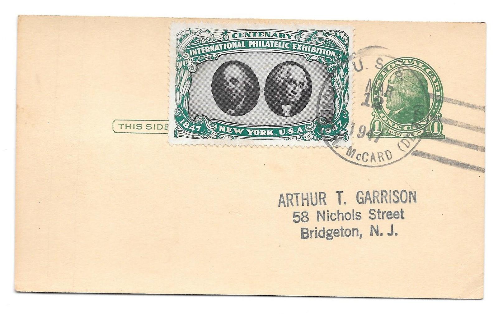 Navy Ship Cancel 1947 USS Robert H McCard CIPEX Poster Stamp Cinderela Tied UX27 - $9.95