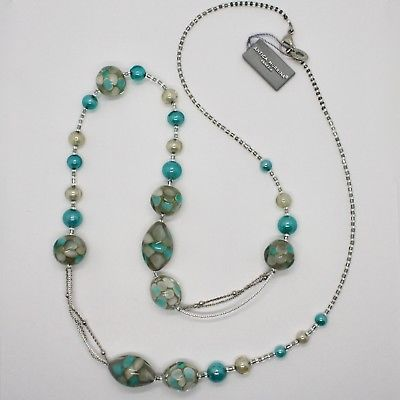 COLLIER ANTIQUE MURRINA VENEZIA VERRE DE MURANO BEIGE TURQUOISE OR COA09A59