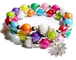 Handmade Beaded Bracelet - Multi Colored 2 Loop Memory Wire - Silver Acc... - $8.25