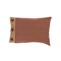 Burgundy Check - Ninepatch Star - Pillow Cases - Standard - VHC Brands