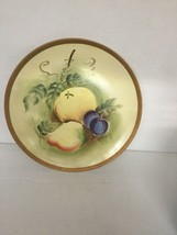 Vintage NORLEANS Decorator Plate Fruit Plum Pear Hand Painted 8 3/4 inch - $20.96