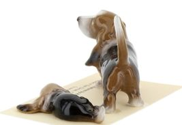Hagen Renaker Dog Basset Hound Papa and Pup Lying Ceramic Figurine Set image 4